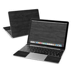 Apple MacBook 12in Skin - Black Woodgrain - Sticker Decal